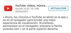 Actualización de Youtube: Cuando hagas clic en un link de Youtube en Safari o en Chrome, el video abrirá en la app de Youtube y no en el navegador.