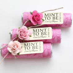 """Mint wedding Favors - Set of 24 mint rolls - """"Mint to be"""" favors with personalized tag - pink ombre. Mint To Be Wedding Favors Diy Food Wedding Favors, Inexpensive Wedding Favors, Party Favors, Wedding Mints, Wedding Reception, Engagement Celebration, Colorful Party, Personalized Favors, Bridal Shower"""