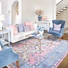 Home Decoration Hall .Home Decoration Hall Blue And Pink Living Room, Pastel Living Room, Pink Living Rooms, Pink And Blue Rug, Pastel Room Decor, Pink Rugs, Blue Living Room Decor, Rooms Home Decor, Home Living Room