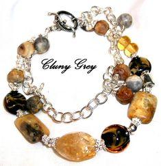 Unique Handcrafted Jewelry Designes | Yellow Crazy Lace Agate Bracelet