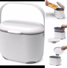 addis 25 litre kitchen compost caddy white grey