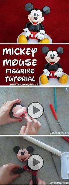 How to make a Mickey Mouse figurine tutorial. Edible Mickey Mouse gumpaste figurine.