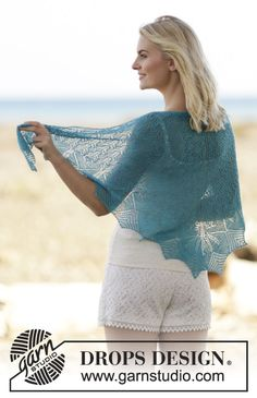 "Knitted DROPS shawl with lace and leaf pattern in ""Lace"" or ""Alpaca"". ~ DROPS…"