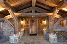 Ski Chalet entry gorgeous stone and timber house in Mont Blanc Chalet Style, Ski Chalet, Pole Barn Homes, Mountain Modern, The Gables, Timber House, Rustic Elegance, Log Homes, Victorian Homes
