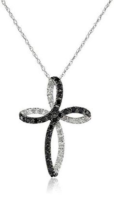 10k White Gold Cross Black and White Diamond Pendant Necklace (1/5 cttw, I-J Color, I2-I3 Clarity), 18'' by Amazon Curated Collection - See more at: http://blackdiamondgemstone.com/jewelry/necklaces/pendants/10k-white-gold-cross-black-and-white-diamond-pe