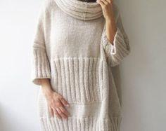 INVIERNO venta elegante bicolor Hand Knitted Poncho con cuello