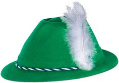Green Velour Tyrolean Hat - One Size Fits Most Case Pack 24