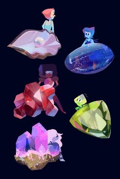 Crystal Gems and their gems.