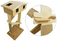 Here's a brand new line of contemporary cat furniture from Poland and I like what I see! Catroom was created by Company Skolik,who specializes in creating tools for cutting products from cardboard. The Catroom line incorporates cardboard with other sturdier materials to create climbing and scratching furniture for cats. Cattower is the first piece in…