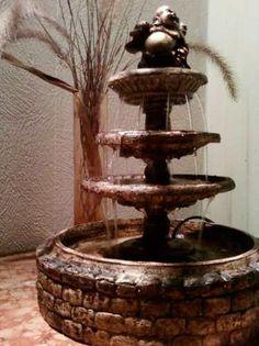 Imagenes del mundo y fantasia: Fuentes de Agua & FENJUI Jardin Feng Shui, Diy Water Fountain, Tire Art, Flowers Nature, Ceramic Art, Garden Plants, Ideas Bonitas, Patio, Biscuit