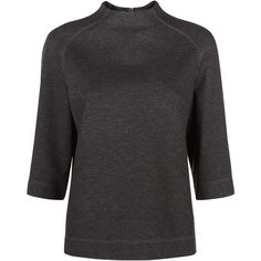 Jaeger Ponte Funnel Neck Top, Charcoal (€47) ❤ liked on Polyvore featuring tops, ponte top, 3/4 sleeve tops, short tops, three quarter sleeve tops and 3/4 length sleeve tops