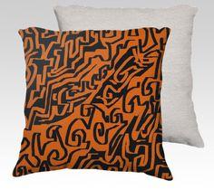 """22x22 pillow """"Laberinto ocre black"""" by eliso ignacio silva simancas"""