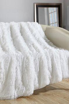 "Alaska Shaggy Fleece Super soft Ultra Plush Decorative 50"" x 60"" Throw Blanket - White"