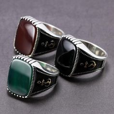 turkish jewelry 925 Sterling Silver black onyx stone Sea Captain Anchor Men ring