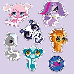 Littlest Pet Shop Wall Decals Set Little Pet Shop, Little Pets, Birthday Party Centerpieces, Birthday Decorations, Wall Stickers Murals, Wall Decal Sticker, Decorate Lampshade, 6th Birthday Parties, 7th Birthday