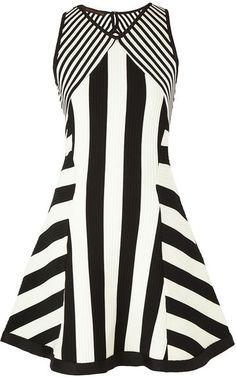 Vestido Renata Campos tricô listrado - preto e branco