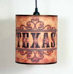 Made to order 8in Pendant Light - Texas Western Style Vintage / Rustic - Country Decor. $125.00, via Etsy.