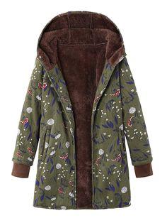 Fashionnana Vintage Floral-Print Hoodie Buttoned Long Sleeve Coat –  fashionnana Tuta Sportiva Da Donna 82280ad346a