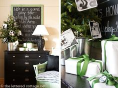 totally doing this little tree in a metal/galvanized bin with photos cloth-pinned to it.