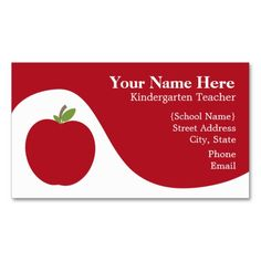 Teacher Business Card - Red Apple. I love this design! It is available for customization or ready to buy as is. All you need is to add your business info to this template then place the order. It will ship within 24 hours. Just click the image to make your own!