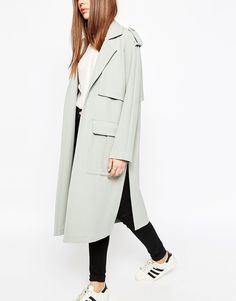 Image 3 of ASOS Boyfriend Coat with Utility Detail Pockets