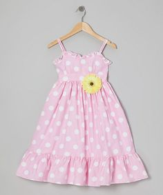 Another great find on #zulily! Pink & White Polka Dot Dress & Daisy Pin - Toddler & Girls by Kid's Dream #zulilyfinds