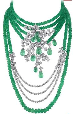 Cariter emerald bead and diamond necklace, incredible! @Reinandy http://www.facebook.com/ReinaIndybelleza