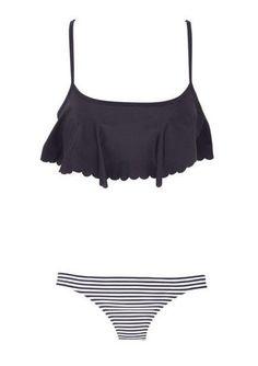 swimwear black white bathing suit stripes flowy black bikini