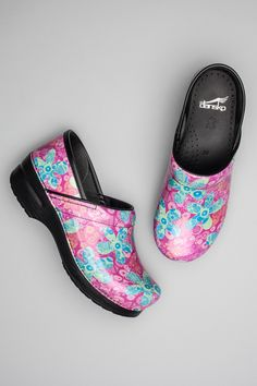 1a611a5a8f8c4 The Dansko Pop Floral Patent from the Professional collection. Sanita Clogs