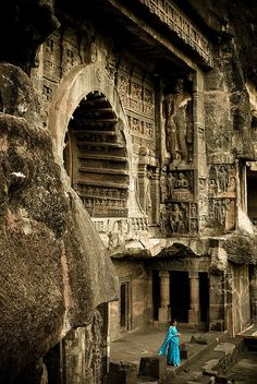 Ajanta caves in the Aurangabad district of Maharashtra, India are 30 rock-cut cave monuments which date from the 2nd century BCE to the 600 CE.