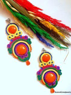 Large soutache earrings by BozenaKorwatJewelry on Etsy