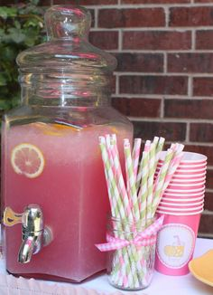 Pink lemonade for baby shower