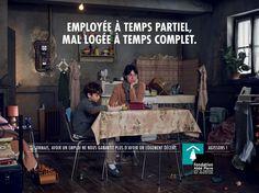"""""""Employée à temps partiel. Mal logée à temps complet"""" - Campagne de sensibilisation Fondation Abbé Pierre 2014-15"""