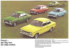 Ford Escort family in a brochure used in Sweden