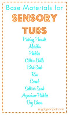 Ideas for Sensory Tubs