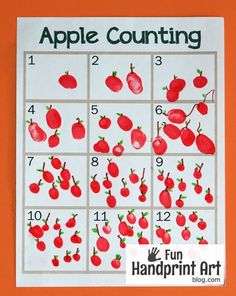 fall activities for kids Free Printable Fingerprint Apple Counting Activity: Perfect for an apple unit or Letter A is for Apple craft (+ another printable for Johnny Appleseed D Preschool Apple Activities, Preschool Apple Theme, Autumn Activities For Kids, Kindergarten Activities, Preschool Apples, Kindergarten Apple Theme, September Preschool Themes, Apple Theme Classroom, September Crafts