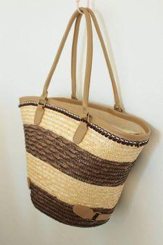 Brown Stripe Straw Bag with Pom Pom Trim Natural by fluteofthehour