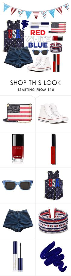 """Red White and Beautiful (Contest Submission)"" by fashionbyginny ❤ liked on Polyvore featuring Draper James, Converse, Chanel, Bobbi Brown Cosmetics, RetroSuperFuture, American Apparel, Estée Lauder, Obsessive Compulsive Cosmetics and POPTIMISM!"