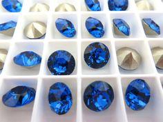 6 Capri Foiled Swarovski Crystal Chaton Stone 1088 by BeadwareIL-$2.60,12-$4.75,15-$5.90
