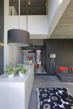 Microcement finished floors are designed to give an ultra smooth finish; designed for interior use. Floor Finishes, Interior And Exterior, Sweet Home, Ceiling Lights, Flooring, Lighting, Modern, Table, Projects