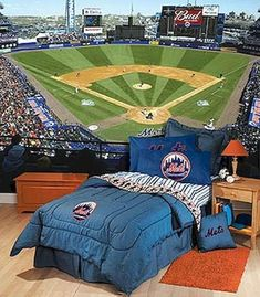 34 Fabulous Sport Bedroom Ideas For Boys - It takes more than a display of his favorite collection to transform an ordinary boy's bedroom into a custom fantasy theme bedroom, though that's an e. Baseball Bedroom Decor, Boy Sports Bedroom, Sports Bedding, Baseball Furniture, Bedroom Themes, Bedroom Wall, Kids Bedroom, Bedroom Ideas, Master Bedroom
