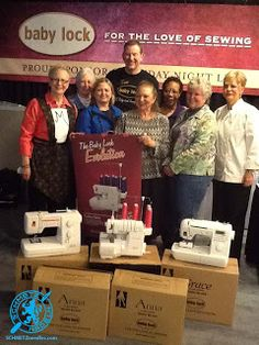 Steve Jeffery, President of Babylock, with Nancy Zieman giving away FIVE SEWING MACHINES...