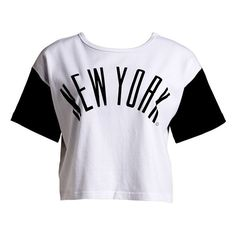 Women's :CHOCOOLATE 'NYC' Two-Way Crop Tee ($15) ❤ liked on Polyvore featuring tops, t-shirts, shirts, crop tops, shirt crop top, cotton crop top, crop t shirt, crop top und cotton tee