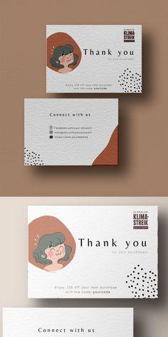 Thank You Card Design, Name Card Design, Thank You Card Template, Thank You Card Size, Small Business Cards, Business Thank You Cards, Cute Business Names, Business Card Design, Business Branding