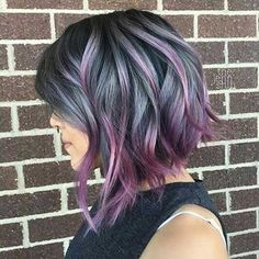 Hair Styles For Women Short Pretty Hairstyles (Cool Braids Easy) Hair Styles 2016, Short Hair Styles, Bob Styles, Short Hair With Color, Short Hair Colors, Hair Color Ideas For Brunettes Short, Funky Hair Colors, Hair Colours, Purple Balayage