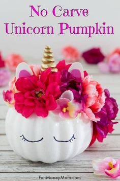 Adorable No Carve Unicorn Pumpkin No Carve Pumpkin - This unicorn pumpkin is the perfect Halloween craft for little ones. If you're planning on decorating pumpkins, you'll love how easy and inexpensive it is! Creative Pumpkins, Small Pumpkins, Painted Pumpkins, White Pumpkins, Pumpkin Decorating Contest, Pumpkin Contest, Decorating Pumpkins, Holiday Decorating, Decorating Ideas