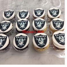 Raiders birthday cupcakes. Visit us Facebook.com/marissa'scake or www.marissa'scake.com