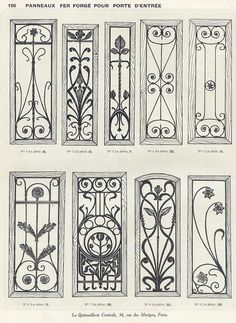 Discover thousands of images about Forge salers - Ferronnerie d'art, artisan forgeron, fer forgé Art Nouveau Pattern, Art Nouveau Design, Gate Design, Door Design, Window Grill Design, Jugendstil Design, Iron Windows, Iron Balcony, Wrought Iron Doors