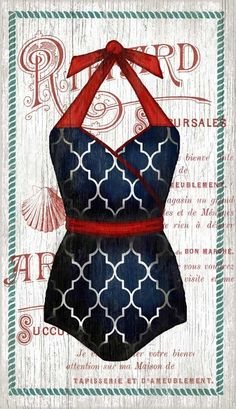 We are crazy about these new red, white and blue Suzanne Nicoll vintage bathing suit custom art pieces!