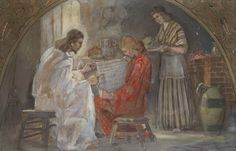 """""""And Jesus answered and said unto her, Martha, Martha, thou art careful and troubled about many things: But one thing is needful: and Mary hath chosen that good part, which shall not be taken away from her."""" Painting by Minerva Teichert...........This one hangs in the Brides' Room at the Newport Beach Temple (Calif.).....Pat"""